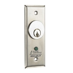 """1-3/4"""" Narrow 302 Stainless Steel Plate, 4A SPDT Momentary Action Switch, Green LED"""