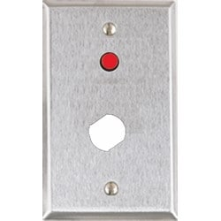 """Single Gang Stainless Steel Wall Plate With 1/4"""" Red LED And Double """"D"""" Hole For Medeco Lock"""