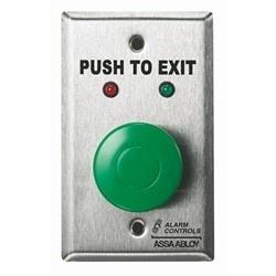 """Request To Exit Station HD, 1-1/2"""" Green Button, Exit, 1/4"""" Red & Green Leds"""