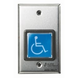 """UL 2"""" Square Blue Illuminated Push Button, """"ADA SYMBOL"""", SPDT 10A Continuous Contacts, Single Gang, Stainless Steel Plate"""
