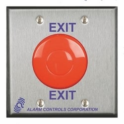 """1 N/O & 1 N/C 10A Momentary Switch, Red Mushroom, """"EXIT"""", Double Gang, Stainless Steel Plate"""