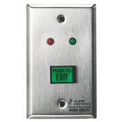 """UL 5/8"""" X 7/8"""" Green Illuminated Push Button, DPDT 3A Continuous Contacts, Red & Green Leds, """"PUSH TO EXIT"""", Single Gang"""