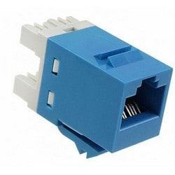 Modular Jack, 8-Position, RJ45, Cat 5E, T568A/B Wiring, Unshielded, 26 to 22 AWG, Polycarbonate Housing, Blue, With Strain Relief