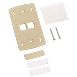 LE Type Flush Mounted Faceplate, Two Port, Ivory