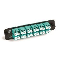 Adapter Panel, 1000-Type, 12 Lazrspeed Multimode Duplex LC Adapters, Aqua, No Shutter, Black Finish