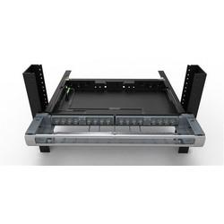 "Distribution Panel, Shelf/Preterminated, 1U, 32-Port, 19"" Width x 18.85"" Depth x 1.75"" Height, Polycarbonate/ABS Plastic, Black"