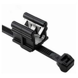 """Cable Tie & Edge Clip, 8.0"""" Long, EC19, Panel Thickness 0.12""""-0.24"""", 50 lb, PA66HS, Black"""