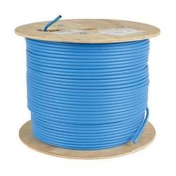 Cat6a 10G Bulk UnShielded Solid-Core PVC CMR Cable, Blue, 1000 ft.