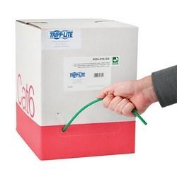 Cat6 Gigabit Bulk Solid-Core Plenum-Rated CMP Cable, Green, 1000 ft.