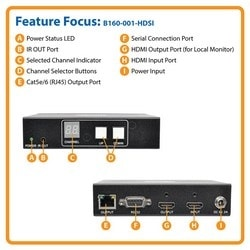HDMI/DVI over IP Extender Transmitter over Cat5/Cat6, RS-232 Serial and IR Control, 1920 x 1440, 328 ft. (100 m), TAA