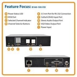 VGA Over IP Receiver / Extender w/RS-232 Serial & IR Control