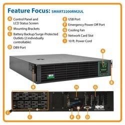 SmartPro 120V 2.2kVA 1.92kW Line-Interactive Sine Wave UPS, Lithium Iron Phosphate (LiFePO4) Batteries, 2U, LCD, USB, DB9