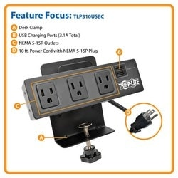 Tripp Lite Protect It 3-Outlet Surge Protector with Desk Clamp /& 2 USB Ports