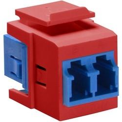 QuickPort Duplex LC Adapter, SM, zirconia ceramic sleeve, blue/red
