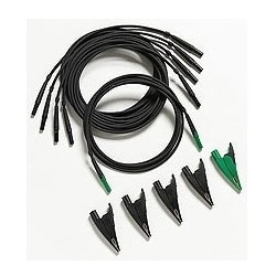Test Lead and Alligator Clip, Includes (4) Black/Green Test Lead and Alligator Clip, For Power Quality Analyzer