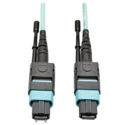 MTP/MPO Multimode Patch Cable, 12 Fiber, 40 GbE, 40 GBASE-SR4, OM3 Plenum-Rated (M/F), Aqua, 5 m (16 ft.)