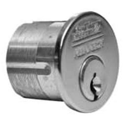 "Mortise Cylinder, Conventional, Straight Cam, 982 Keyway, 1-1/2"" Length, Satin Chrome Plated"