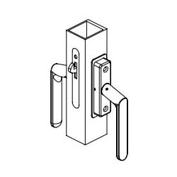 "Sliding Door Lockset, Self-Latching, Aluminum, Dark Bronze Anodized, For 1-3/4"" Thickness Door"