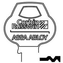 Door Lock Key Blank, All-Section, Standard, 6-Pin, 9 Keyway, Z-Class Bitting, Coined Logo Bow