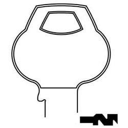 Door Lock Key Blank, Cylinder, Single-Section, Standard, 6-Pin, Z-Class Bitting, Plain Bow