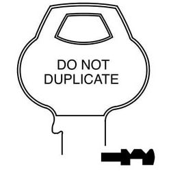 Door Lock Key Blank, Cylinder, Single-Section, Standard, 6-Pin, X-Class Bitting, DND Bow