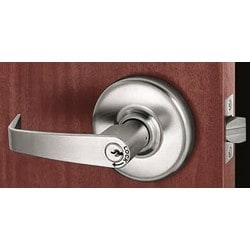 Door Lever Lockset, Extra Heavy Duty, Non-Handed, Armstrong, Die-Cast Zinc Lever, Brass Rose, ANSI F75, Satin Chrome Plated, For Passage/Closet