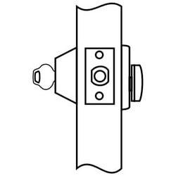 "Door Deadlock, Non-Handed, Single Cylinder, Nickel Silver Key Operated, 2-3/8"" Backset, 1-3/8"" Door Thickness, ANSI E0150, Satin Chrome Plated, Without Cylinder"