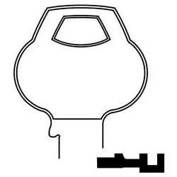 Door Lock Key Blank, Obverse, All-Section, Standard, 6-Pin, 14 Keyway, N-Class Bitting, Plain Bow