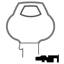 Door Lock Key Blank, Reverse, Cylinder, Single-Section, Standard, 6-Pin, N-Class Bitting, Plain Bow
