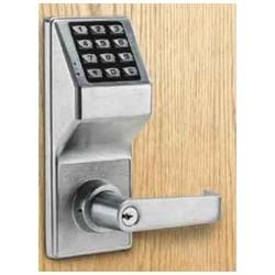 "Door Lock, Digital, Standard Key Override, Non-Handed, 100 User Code, 1-5/8 to 1-7/8"" Door Thickness, Duronodic, With Straight Lever Trim, Cylinder"