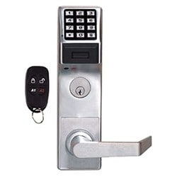 "Door Lock, Prox, Digital, Standard Key Override, Non-Handed, 2000 User Code, 1-5/8 to 1-7/8"" Door Thickness, Duronodic, With Straight Lever Trim, Cylinder"