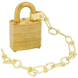 """Padlock, Alike Keyed, Non-Removable Key, 5-Pin Bumpstop, 1-9/16"""" Width, Laminated Brass, With 9/32"""" Diameter Dual Lever Locking Brass Shackle, Chain"""