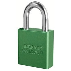"Rekeyable Padlock, Zero-Bitted, 5-Pin Tumbler, 1-3/4"" Width x 3/4"" Thickness, Anodized Aluminum Body, Green, With 1-1/8"" Clearance Boron Alloy Steel Shackle"