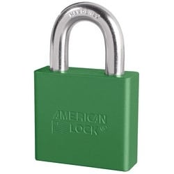 """Rekeyable Padlock, Zero-Bitted, 5-Pin Tumbler, 2"""" Width x 3/4"""" Thickness, Anodized Aluminum Body, Green, With 1-1/8"""" Clearance Boron Alloy Steel Shackle"""