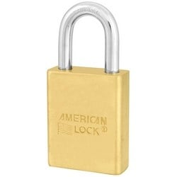 """Padlock, Small Format IC Core, 1-3/4"""" Width x 3/4"""" Thickness, Solid Brass Body, With 5/16"""" Diameter x 1-1/8"""" Clearance Boron Alloy Steel Shackle, Without Cylinder"""