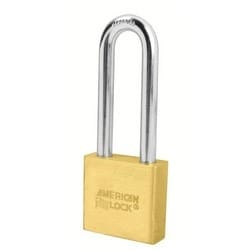 "Padlock, Small Format IC Core, 2"" Width x 3/4"" Thickness, Solid Brass Body, With 5/16"" Diameter x 3"" Clearance Boron Alloy Steel Shackle, Non-Removable Key, Without Cylinder"