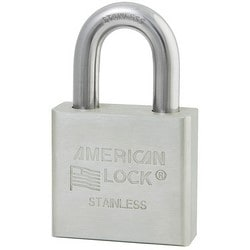 """Rekeyable Padlock, Zero-Bitted, 5-Pin Tumbler, 2"""" Width x 3/4"""" Thickness, Solid Stainless Steel Body, With 1-1/8"""" Shackle Clearance"""