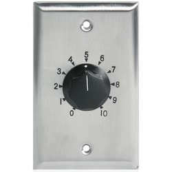 """Volume Control Attenuator, Plate Mount, Deluxe, 1-Gang, 27 dB, 35 Watt, 2-3/4"""" Width x 2-1/8"""" Depth x 4-1/2"""" Height, Stainless Steel Plate, With SPDT Relay, 3 dB Step"""