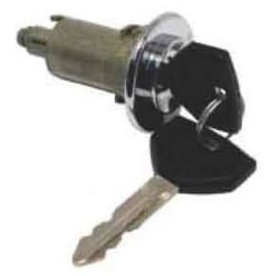 General Motor Trunk Cylinder Lock, Uncoded, 1995 to 2000 Year Model, Chrome Plated, Clip Mount, With (2) Key, Zinc Cap