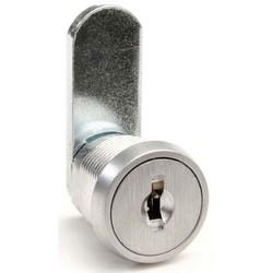 "Cam Lock, Straight, Disc Tumbler, Keyed Alike AUE1, 1-1/4"" Length, Satin Chrome Plated"
