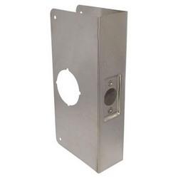 """Door Lock Wrap Around Plate, 4-1/4"""" Width x 9"""" Height, 2-3/4"""" Backset, 2"""" Door, 22 Gauge, Stainless Steel, For Thicker Door"""