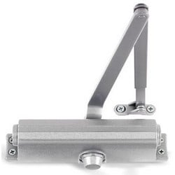 Door Closer, Medium Duty, Non-Handed, 1-5 Adjustable Spring, Cast Iron, Aluminum, Hold-Open Arm, Thru-Bolt, Self Reaming and Tapping Screw, With Parallel Arm Shoe