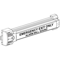"Exit Alarm Lock, 32-1/2"" Width x 7"" Height, Anodized Aluminum, With Strike, Screw Pack, Battery, For 36 to 48"" Width Door"