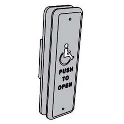 "Automatic Door Operator Push Plate, 1-1/2"" x 4-3/4"" Jamb Mount, With Logo, For 8200 Series Electromechanical Door Operator"