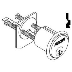 Door Lock Cylinder, Rim, 7-Pin, Q Keyway, 0-Bitted, Aluminum, Satin Chrome