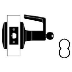 """Cylindre de serrure Standard Duty, levier de Dane, assurée, 2-3/4"""" appuie-tête, Chrome satiné, sans cylindre SFIC, pour relier la salle/sortie"""