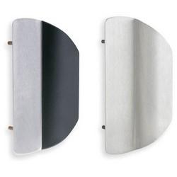 "Door Lock Trim, Vandal Resistant, Left Hand Reverse, 7-1/4"" Width x 11"" Height, 1-7/8"" Projection, Satin Stainless Steel, With Black Grip, Built-In Protector"
