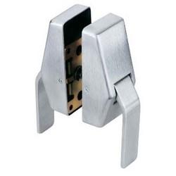 "Door Lock Latch, Push/Pull, 2-9/16"" Length x 2-5/8"" Depth, 2-3/4"" Backset, Brass, Satin Chrome"