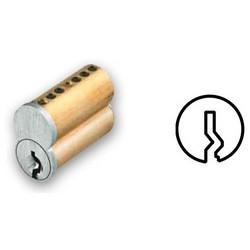 "Interchangeable Cylinder Core, Small Format, Best B Keyway, 6-Pin, 0.56"" Diameter x 1.1"" Length x 0.96"" Height, Satin Chrome"