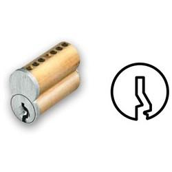 "Interchangeable Cylinder Core, Small Format, Best G Keyway, 6-Pin, 0.56"" Diameter x 1.1"" Length x 0.96"" Height, Satin Brass"